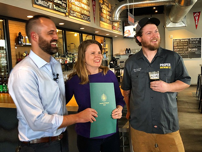 SLC Deputy Director of Economic Development Ben Kolendar, Utah Brewers Guild Executive Director Casey Slattery and Proper Brewing co-owner Rio Connelly. - MIKE RIEDEL