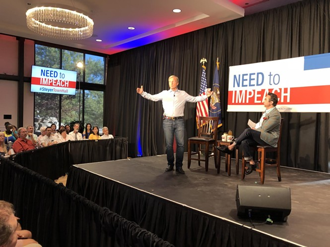 It's my party and I'll impeach if I want to: Hedge fund manager Tom Steyer addresses a Salt Lake City crowd on Friday, June 29. - KELAN LYONS