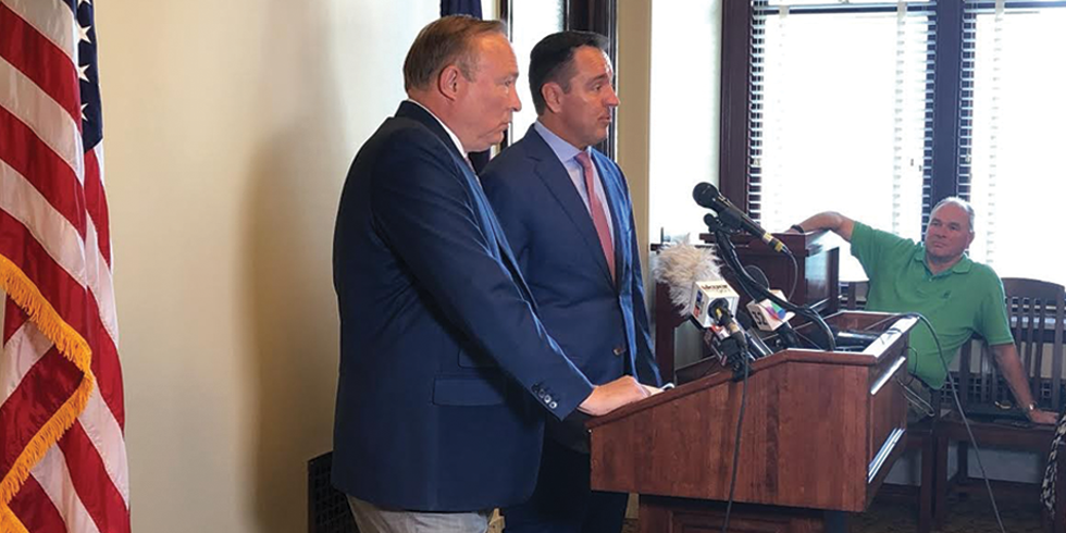 """Nothing that we have said is memorialized or etched in stone,"" outgoing House Speaker Greg Hughes said about the inland port during a joint news conference with Sen. Jim Dabakis on June 5. Hughes resigned from his Inland Port Authority board position three weeks later. - KELAN LYONS"