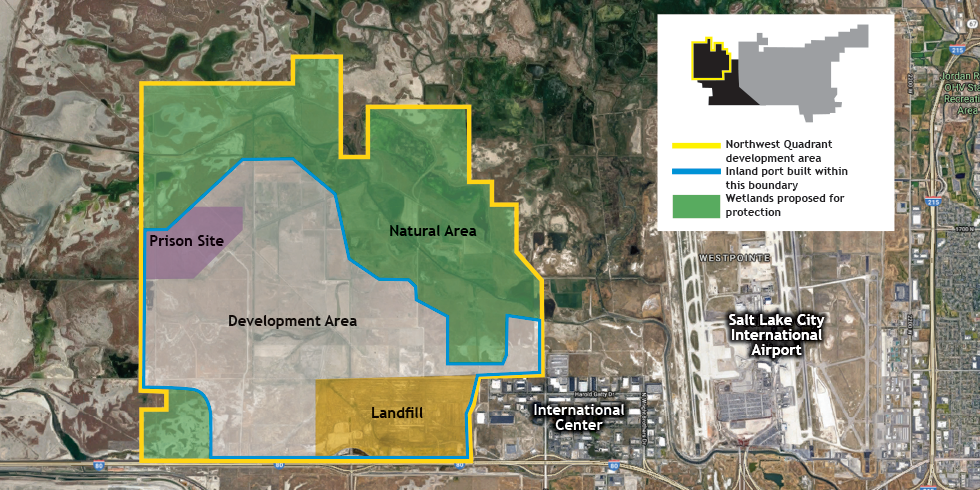 The exact location of the inland port hasn't yet been decided, but it'd be located within the blue outlined area.