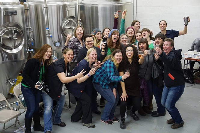 Members of Hop Bombshell at SaltFire Brewing - BECKY PETERSON