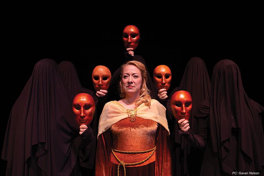 April Fossen (center) as Deianeira in Women of Trachis - GAVAN NELSON