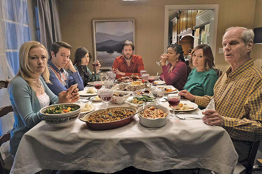 Ike Barinholtz (center) and the cast of The Oath - ROADSIDE ATTRACTIONS