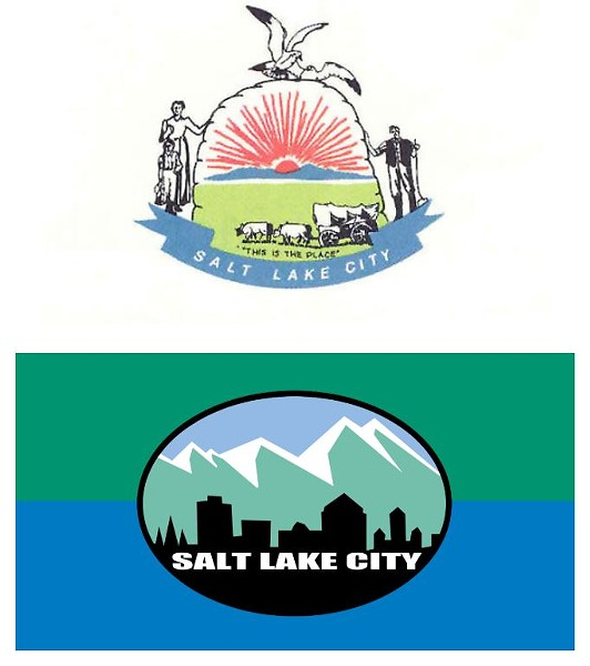 "Above: The city's original flag, which looked more like a ""Mormon Sunday School"" banner, according to former Mayor Rocky Anderson. Below: The city's current flag designed during Anderson's tenure."
