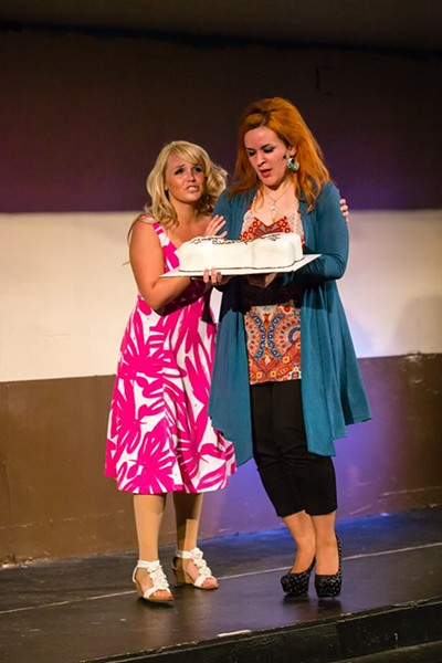 Elle Woods (Kelsey Costello) giving Paulette Bonafonté (Emma Thomas) a pep talk in Legally Blonde. - DAVID SULLIVAN