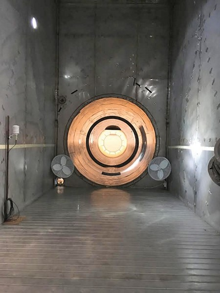 A cylindrical tunnel in the Active Standoff Chamber at Dugway Proving Ground. - DW HARRIS