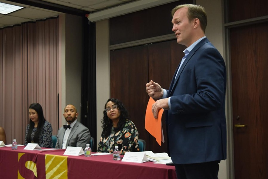 Salt Lake County Mayor Ben McAdams discusses problems with racism ahead of the annual Stand Against Racism panel at the SLCo offices. - RAY HOWZE
