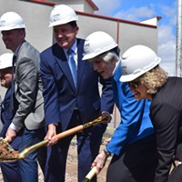 Lt. Gov. Spencer Cox, Gov. Gary Herbert, Pamela Atkinson and Salt Lake City Mayor Jackie Biskupski break ground at the future Pamela's Place Apartments.