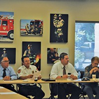 Former UFA Fire Chief Michael Jensen (center) at a July 19, 2016, closed-session meeting, during which the board accepted Deputy Chief Gaylord Scott's resignation.