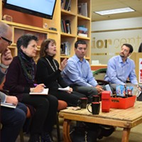 "L to R: Todd Bingham, CEO of the Utah Manufacturers Association; Rep. Patrice Arent, D-Millcreek; Kerry Kelly, chair of the Utah State Air Quality Policy Board; Daniel Mendoza, a postdoctoral fellow in the Division of Pulmonary in the U's School of Medicine; Jared Campbell, an advisory board member of Breathe Utah; and student Nirali Patel discuss air quality at Wednesday's ""Clear Choice? Issues and Action Lunch"" at the University of Utah."