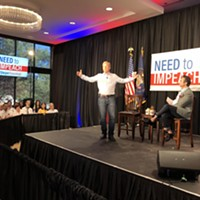 It's my party and I'll impeach if I want to: Hedge fund manager Tom Steyer addresses a Salt Lake City crowd on Friday, June 29.