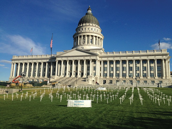 A health-care advocacy group placed more than 360 at the Utah State Capitol Oct. 21 to represent the number of estimated deaths resulting from Utah's failure to expand Medicaid