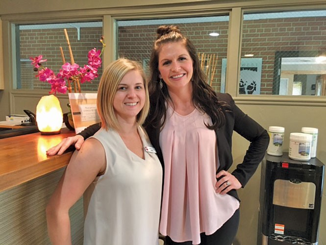 East West Health's medical assistant Sierra Palmer (left) with marketing director Cambria Kem.