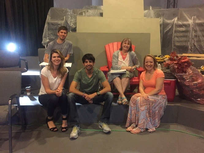 Playwright Troy Deutsch, Director Sandra Shotwell (back row), Cassandra Stokes-Wylie, Stefan Espinosa, April Fossen (front row) - JENNIE SANT