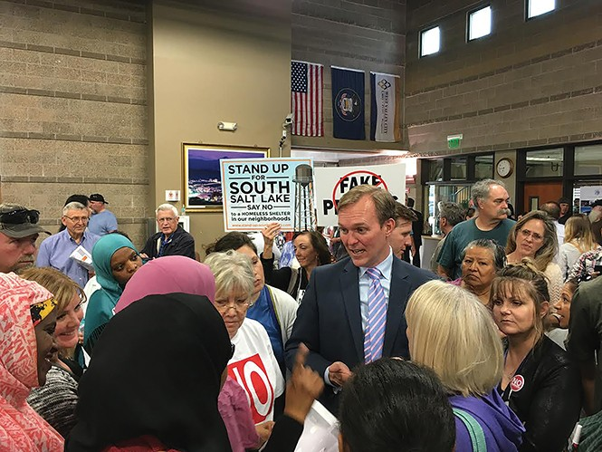 Constituents give a piece of their mind to Salt Lake County Mayor Ben McAdams on Tuesday, March 21. - DW HARRIS