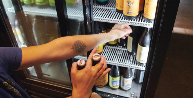 19. Lerch snags a few bottles to serve at the Downtown  Red Rock Brewery location.