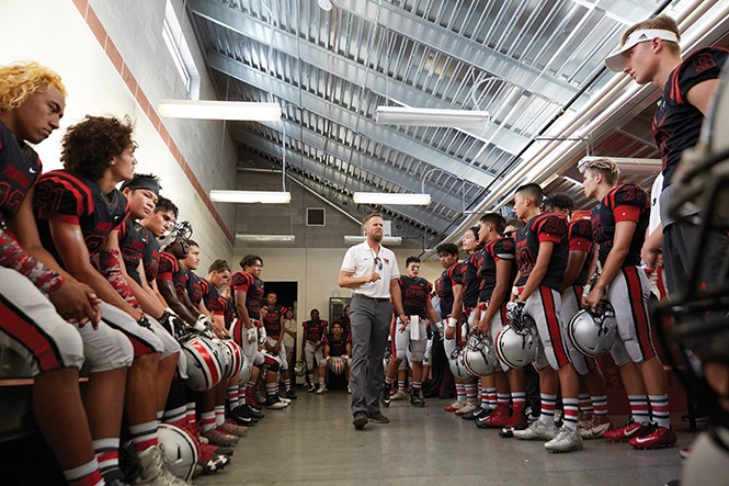"""The past … does not … determine the future,"" Coach Thompson tells his team before the game. - STEPHEN VARGO"
