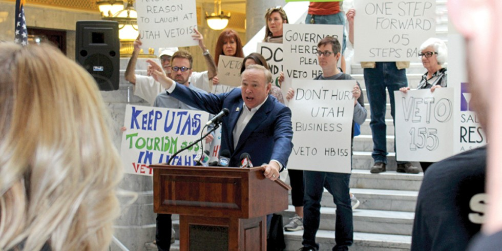 """Sen. Jim Dabakis calls House Bill 155, Utah's controversial .05 DUI law, a """"giant political blunder"""" at a rally on March 17, 2017. - ENRIQUE LIMÓN"""