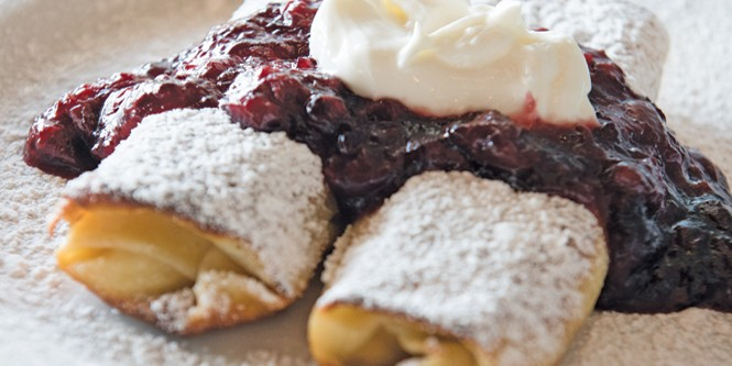 Sour Cherry Blintzes at Feldman's Deli - NIKI CHAN