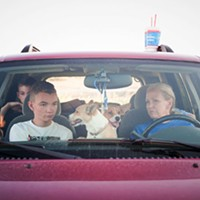 Victoria Cordero, right, with her sons Kacey (front seat) and Austin, plus their two dogs. The family has been unable to make ends meet since being evicted in 2013 and choose to live in their car rather than go to a homeless shelter