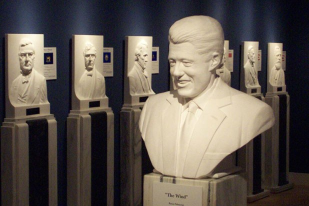 A marble bust of Bill Clinton in the Hall of the Presidents