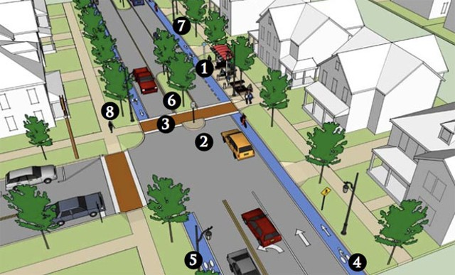 """A mock-up of an ideal """"Complete Street,"""" with accomodations for motorists, cyclists, pedestrians, and public transit."""