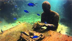 A mysterious underwater typist in Angel Azul, screening at the Brattleboro Film Festival.