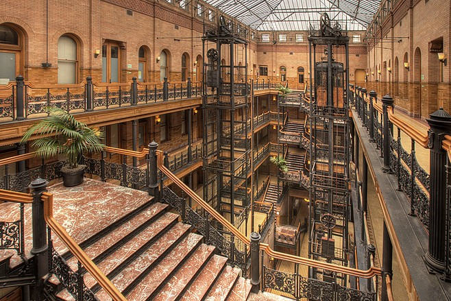A shot of the famous Bradbury Building from Los Angeles Plays Itself - CINEMA GUILD