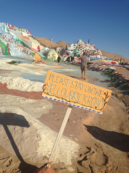 "A ""sign"" on Salvation Mountain - PAULA ROUTLY"