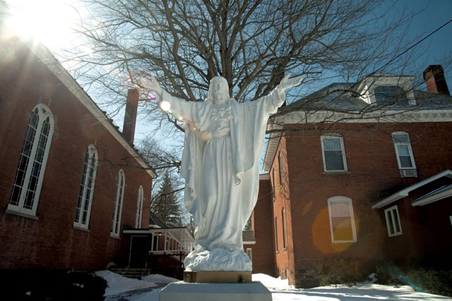 A statue of Jesus - between St. Anthony's - rectory and parish hall
