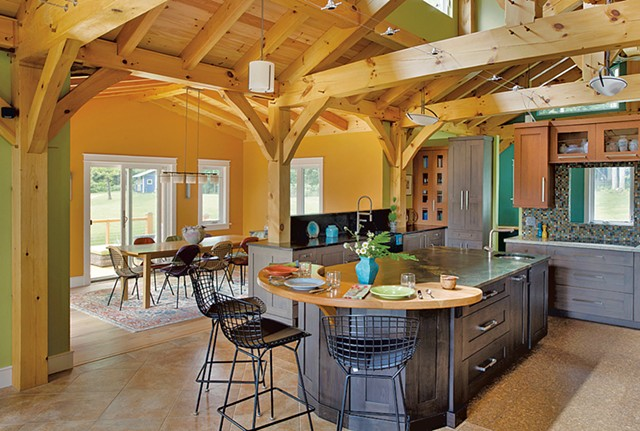 A Vermont home with an eat-in kitchen and expansive food-prep area - COURTESY OF WENDY JOHNSON, DESIGNS FOR LIVING