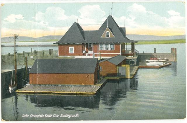 A vintage postcard of the Lake Champlain Yacht Club.