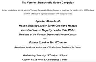 Invitation to Vermont Democratic House Campaign fundraiser - SCREEN SHOT