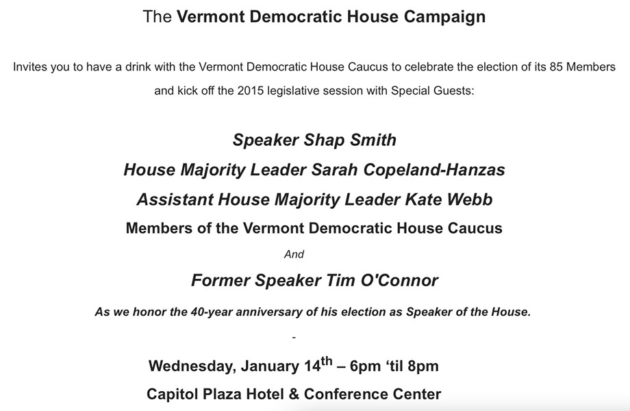 Invitation to Vermont Democratic House Campaign fundraiser - SCREEN SHOT