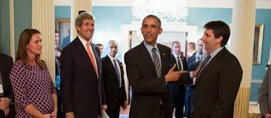 Ambassador Lippert (right) with Secretary of State John Kerry and President Obama. - AMBASSADOR LIPPERT'S BLOG