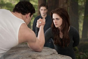 AMPED VAMP Stewart flexes her biceps against Lautner in the final installment, but her acting muscles remain underused.