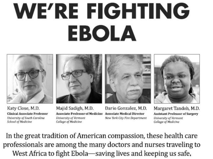 An AmeriCares ad that ran in the New York Times Wednesday includes two doctors from UVM. - AMERICARES' FACEBOOK PAGE