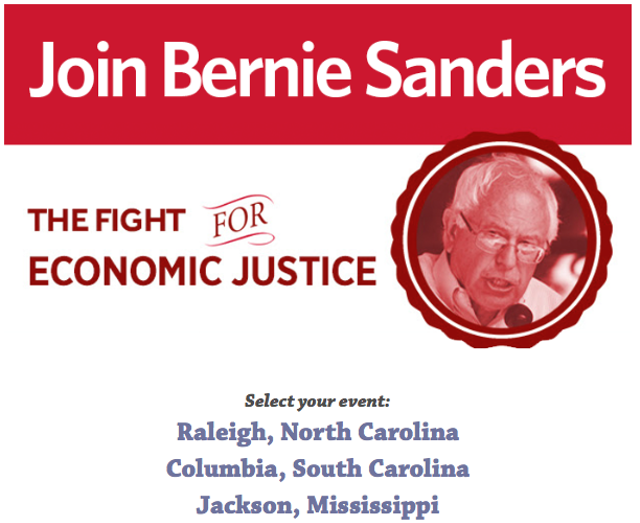 An online advertisement for Sanders' southern tour - COURTESY OF SOUTH FORWARD