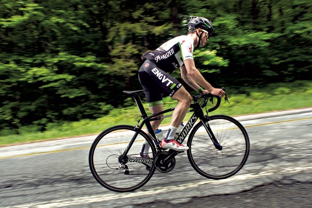Andrew Gardner biking at Middlebury gap