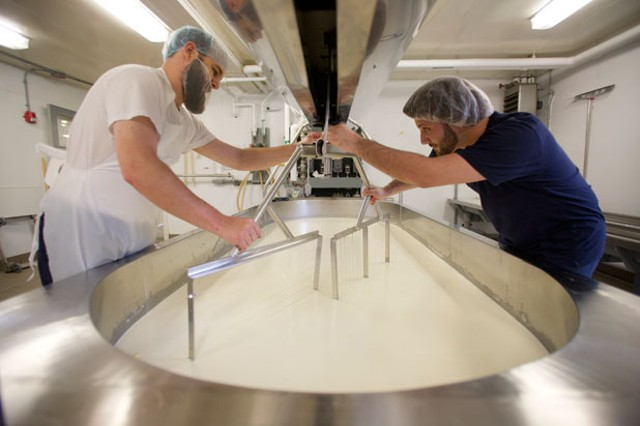 Andy Smiler and Jesse Werner making cheese