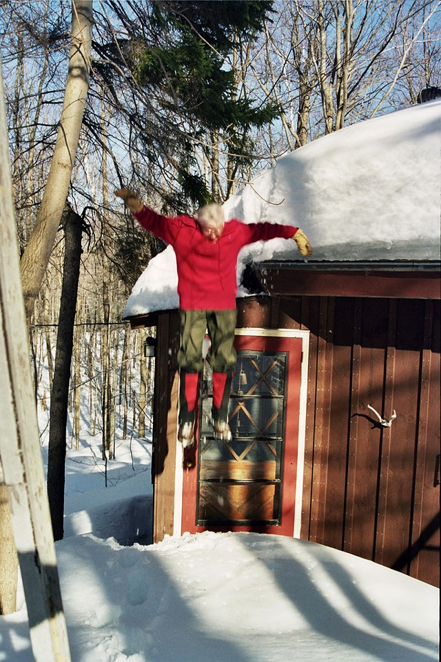 Anne Mausolff  jumping off the roof of her house - COURTESY OF SHANTI BRUBAKER