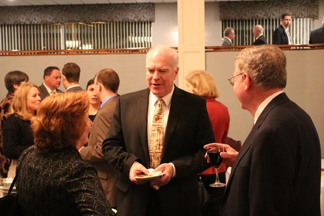 KSE Partners lobbyist Claire Buckley, Sen. Joe Benning and Vermont Retail & Grocers Association president Jim Harrison - PAUL HEINTZ