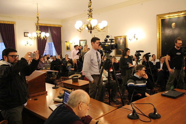 Audience members at Gov. Shumlin's announcement Wednesday - PAUL HEINTZ