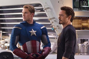 BAND OF MISFITS Evans and Downey Jr. are a straight arrow and a straight shooter, respectively, in The Avengers.