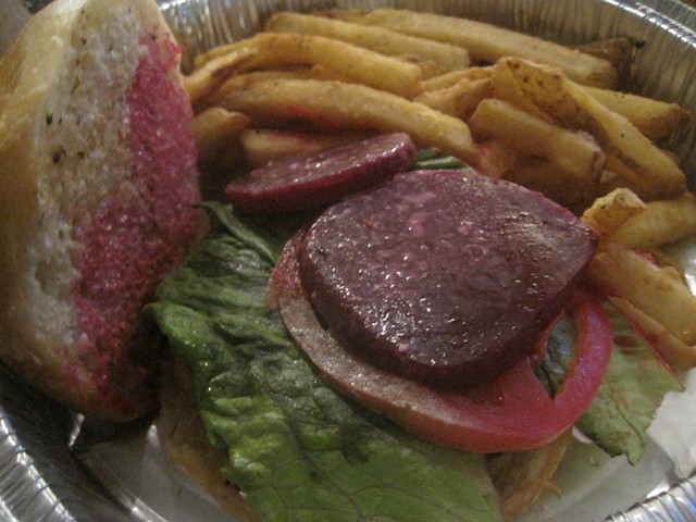 Beet burger with truffle fries