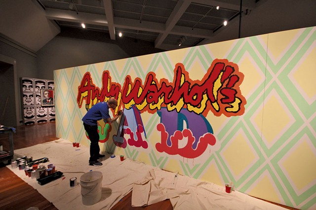 "Ben Eine painting the installation ""Andy Warhol's BAD"" - COURTESY OF MIDDLEBURY COLLEGE"