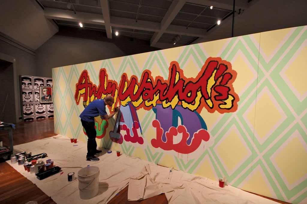 """Ben Eine painting the installation """"Andy Warhol's BAD"""" - COURTESY OF MIDDLEBURY COLLEGE"""