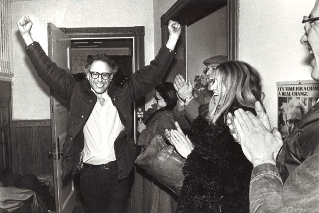 Bernie Sanders celebrates his first electoral victory as mayor of Burlington in 1981. - FILE: ROB SWANSON
