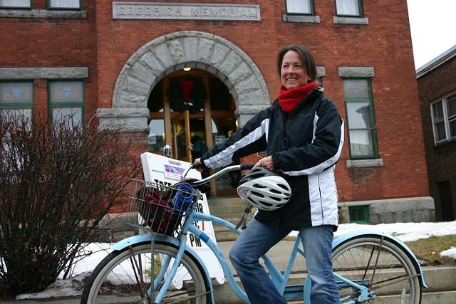 Beth Barnes outside the Goodrich Memorial Library - BRYAN MAROVICH