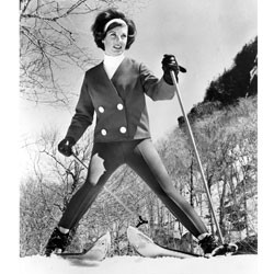 Betsy Snite Riley testing stretch pants for Dupont, c. 1965